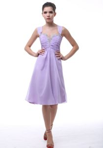 Beaded Sweetheart Neckline Cocktail Dress in Lavender with Straps