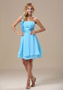 Most Popular Lace Up Light Blue One Shoulder Chiffon Cocktail Dress