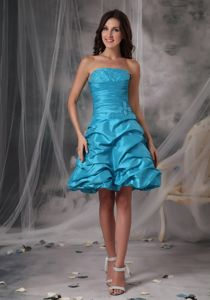 Beaded Strapless Aqua Blue Cocktail Prom Dress with Taffeta Pick-ups