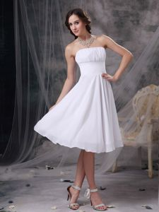 Ruched Strapless White Chiffon Cocktail Dress for Cheap In Alabama