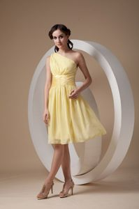 Cheap Custom Made Light Yellow One Shoulder Chiffon Cocktail Dress