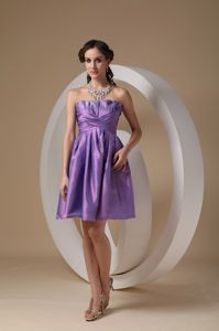 Impressive Purple Taffeta Strapless Cocktail Party Dress with Ruching
