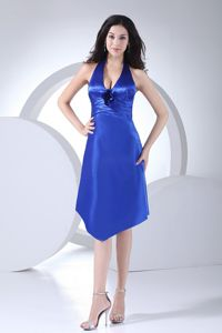 Royal Blue Haltered V-neck Asymmetrical Cocktail Dress with Lace Up