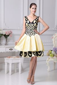 Beaded V-neck Yellow Cocktail Dress with Black Butterfly Wing Pattern