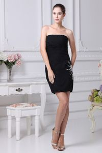 Brand New Sheath Black Chiffon Cocktail Dress with Zipper Up Back