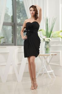 Draped Mini Column Sweetheart Little Black Cocktail Dress with Feather