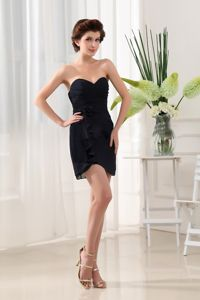 Sweetheart Sheath Little Black Cocktail Dress with Asymmetrical Hem