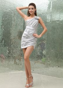Asymmetrical Mini-length Silver One Shoulder Cocktail Party Dress