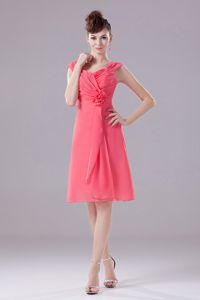 Watermelon Chiffon Knee-length Wide Straps Cocktail Party Dresses
