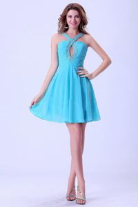 Beaded Keyhole Aqua Blue Ruched Chiffon Cocktail Dress For Prom