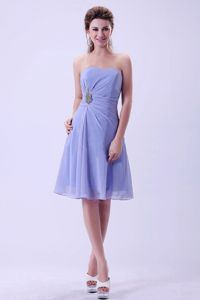 Discount Simple Lilac Chiffon A-line Cocktail Dress in Knee-length