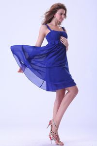 Plus Size Royal Blue Homecoming Cocktail Dress with Ruched Peplum