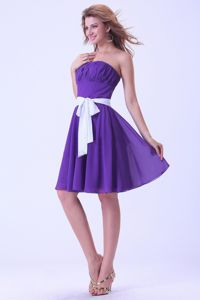 Ruched Strapless Purple Cocktail Dress with White Sash in Annapolis