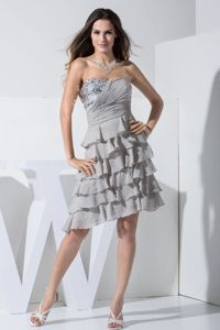 Asymmetrical Layered Grey Chiffon Cocktail Dress with Paillette Fabric