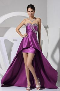 Rhinestone Decorate Bust High Low Cocktail Dress in Purple for Cheap