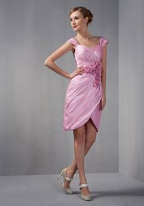 Cap Sleeves Asymmetrical Cocktail Dress with Rosette in Rose Pink