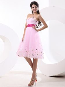 Lovely Pink Cocktail Dress with Colorful Paillettes with Hot Pink Sash