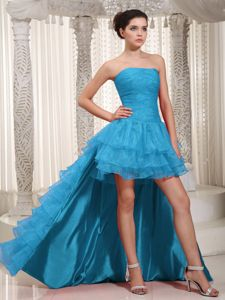 Teal Organza Layered Cocktail Dress with Detachable High-low Train