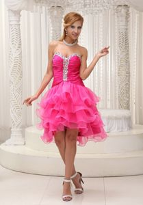 Rhinestone Decorate Asymmetrical Ruffled and Ruched Cocktail Dress