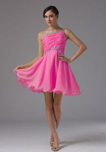 Hot Pink One Shoulder Short Ruched Cocktail Dresses with Beading