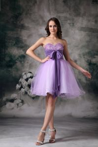 Sweetheart Mini-length Lilac Beaded Cocktail Dresses with Bowknot
