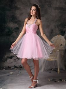 Lovely Straps Short Beaded Prom Cocktail Dresses in Pink Organza