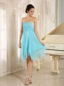 Sweetheart Knee-length Beaded Aqua Blue Evening Cocktail Dresses