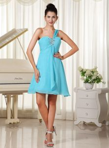 Elegant One Shoulder Beaded Cocktail Dress For Prom in Aqua Blue