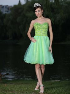 Unique Sweetheart Mini-length Green Cocktail Dresses with Beading