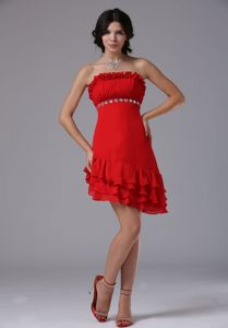 Strapless Asymmetrical Ruched and Beaded Cocktail Dresses in Red