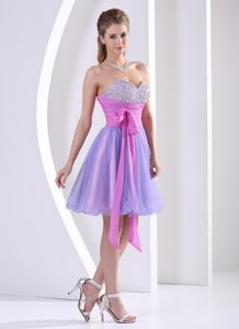 Sweetheart Knee-length Lavender and Lilac Cocktail Dress with Sash