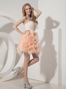 Sweetheart Short Beaded Pink Cocktail Dress with Lace and Flower