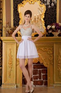 New Straps Short Beaded White Prom Cocktail Dress with Beading