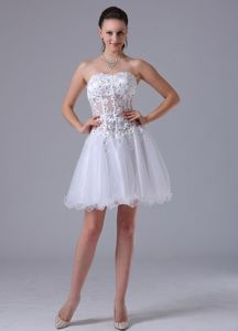 Sexy Sweetheart Short White Prom Cocktail Dresses with Appliques