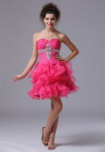 New Sweetheart Short Beaded Cocktail Dress For Prom in Hot Pink