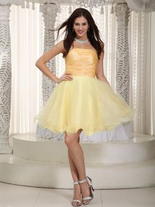 Strapless Mini-length Ruched Light Yellow Cocktail Dress For Prom