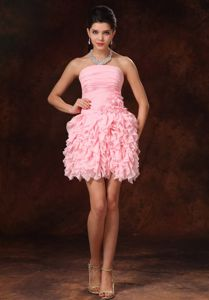 Strapless Short Pink Prom Cocktail Dresses with Ruffles and Flower
