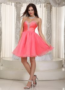 Sweetheart Knee-length Beaded Cocktail Dress in Watermelon Red