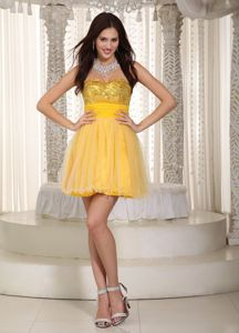 Hot Sale Sweetheart Short Yellow Prom Cocktail Dress with Sequins