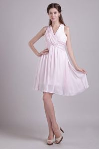 Pleated V-neck Short Ruched Baby Pink Cocktail Dresses For Prom