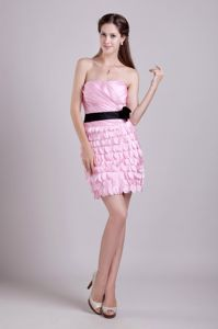Strapless Short Pink Ruched Prom Cocktail Dresses with Black Sash