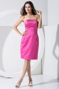 New Strapless Knee-length Pink Prom Cocktail Dress with Pockets