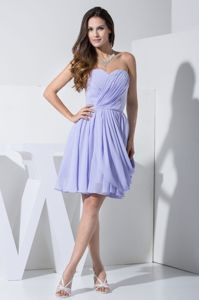 Sweetheart Knee-length Ruched Lilac Cocktail Dresses with Pick-ups