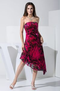 Strapless Asymmetrical Cocktail Dresses For Prom in Red and Black