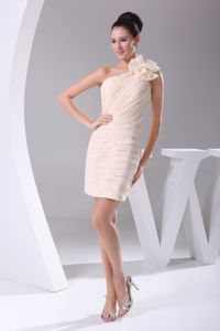 One Shoulder Short Ruched Champagne Cocktail Dress with Flower