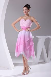 Sweetheart Asymmetrical Rose Pink Cocktail Dresses with Flowers