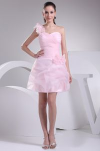One Shoulder Ruched Short Baby Pink Cocktail Dress with Flower