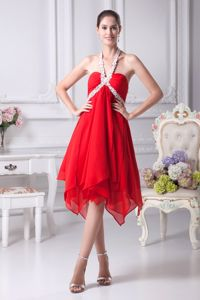 Sexy Halter Knee-length Red Beaded Cocktail Dresses with Ruffles