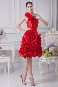 One Shoulder Knee-length Red Cocktail Dress with Rolling Flowers