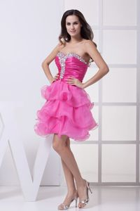 Sweetheart Short Ruched cocktail Dresses in Pink with Ruffled Layers